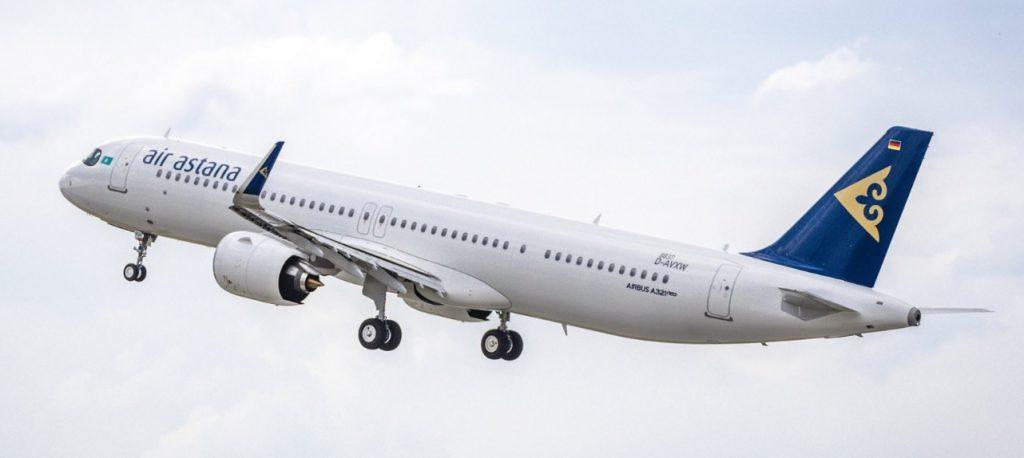Новый А321LR Air Astana летает в Москву