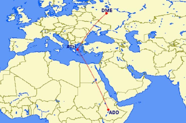 Ethiopian будет летать из Аддис-Абебы в Москву через Афины