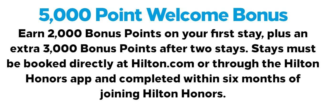 5 000 бонусных баллов Hilton для новых участников