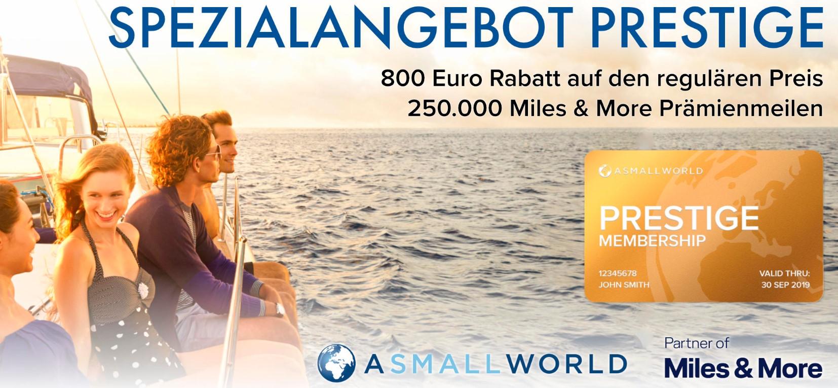 250 000 миль Miles&More и куча бенефитов при покупке членства ASMALLWORLD