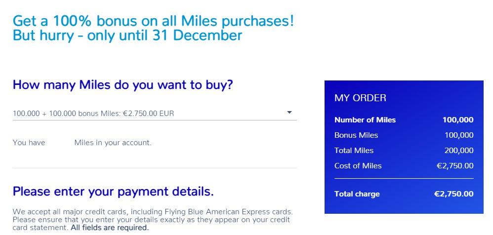 Распродажа миль Flying Blue с бонусом 100%