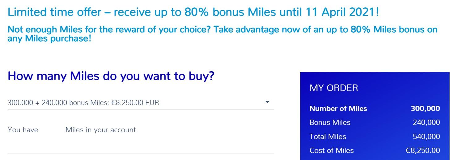 Распродажа миль Flying Blue с бонусом 80%