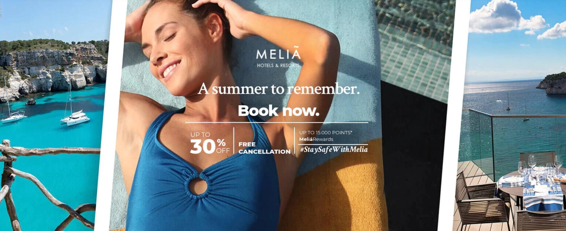 Скидка и бонусные баллы в отелях Melia