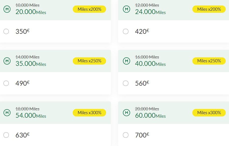 Распродажа миль TAP Miles&Go с бонусом 200%